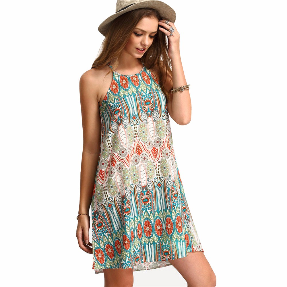 8bcddfd4da47 1 PC Retro National Wind Loose Summer Sleeveless Dress Women O-Neck Off  Shouder Sling Vestidos Casual Party Beach Dress