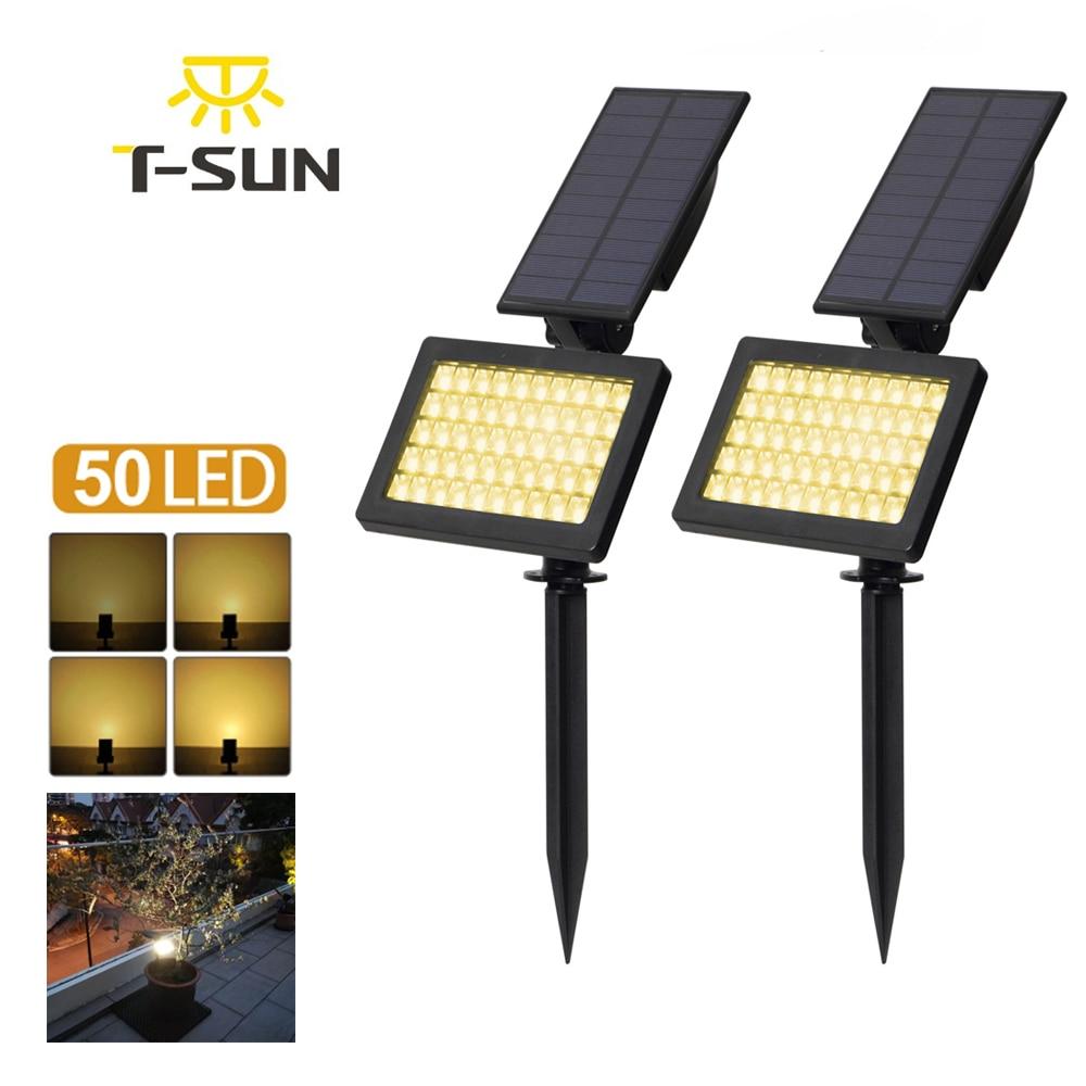 2 PACK Solar Spotlights 50 LED Outdoor Landscape Wall Light Waterproof IP44 Warm White 3500K Adjustable Solar Lights For Garden