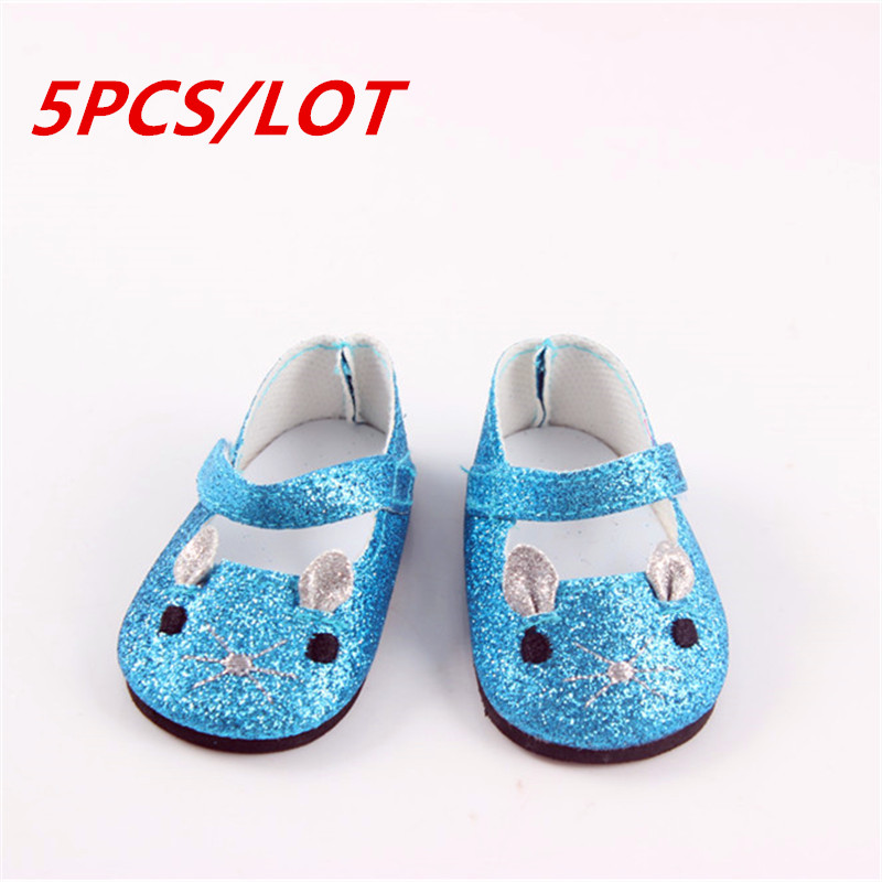 5pcs/lot 43cm Doll Baby Born Zapf Doll Causal Blue Lovely Cat Shoes Doll Accessories Doll Shoes For Baby Christmas Gift DSP3