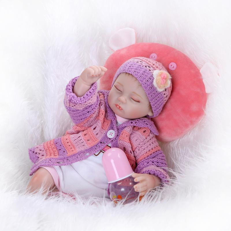 New 42cm silicone reborn dolls eye closed lifelike newborn toys soft touch baby toys bonecas reborn gift for children new design silicone reborn dolls 52cm lifelike baby reborn newborn toys for children gift bonecas