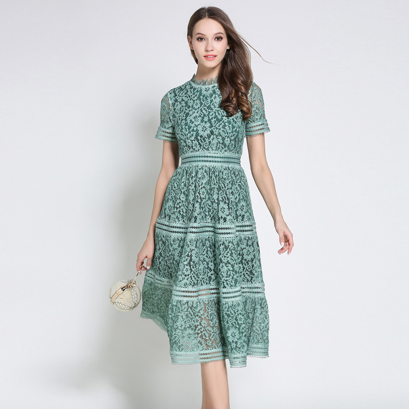 2 Color Summer Fashion 2018 Hollow Out Vintage Dress Casual Lace Dress Beauty Elegant Dresses for Women