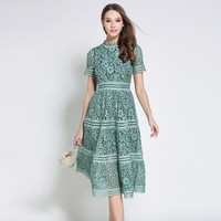 High Quality Summer Fashion 2017 Hollow Out Elegant Lace Party Dress Women Beauty Casual Vacation Dresses