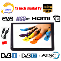 LEADSTAR D12 12 inch LED TV digital player AC3 DVB T T2 Analog ATSC Portable TV Support HDMI USB TF TV programs Car charger gift