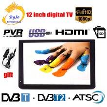 LEADSTAR mini reproductor de televisión digital D12, 12 pulgadas, LED, AC3, DVB T, T2, analógica, ATSC, portátil, HDMI, USB, TF, programas de TV y cargador de coche