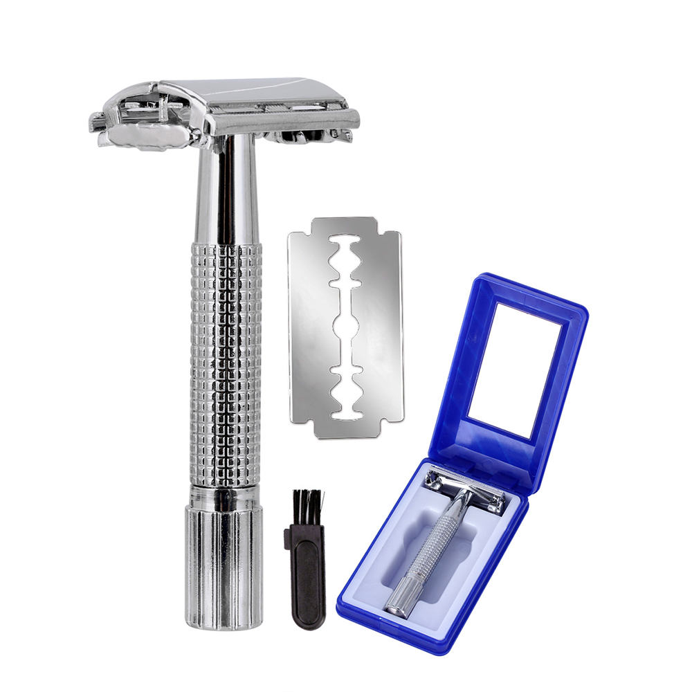Upgrade Wet Shaving Safety Blade Razor Shaver Handle Barber Men's Manual Beard Hair Care +1 Travel Case