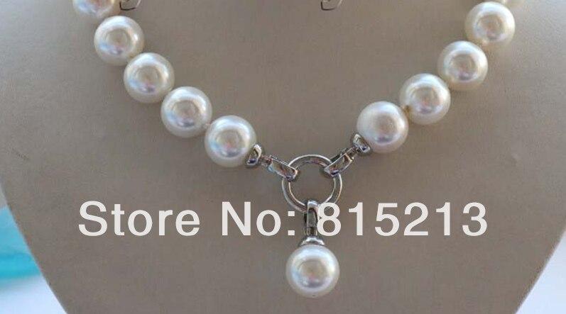 LIVRAISON GRATUITE >@@> N1050 Naturel 14mm Blanc Ronde Shell Perle Collier Pendentif