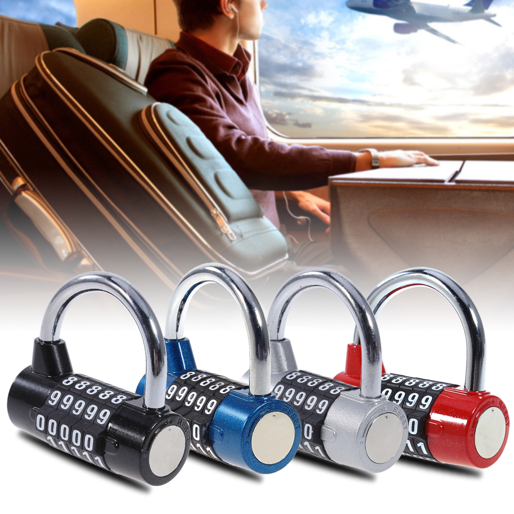 5 Digits Password Safety Lock Wide Shackle Combination Padlock Gym Cabinet Lock Cupboard Wardrobe Coded Safe Lock Medium Size ...