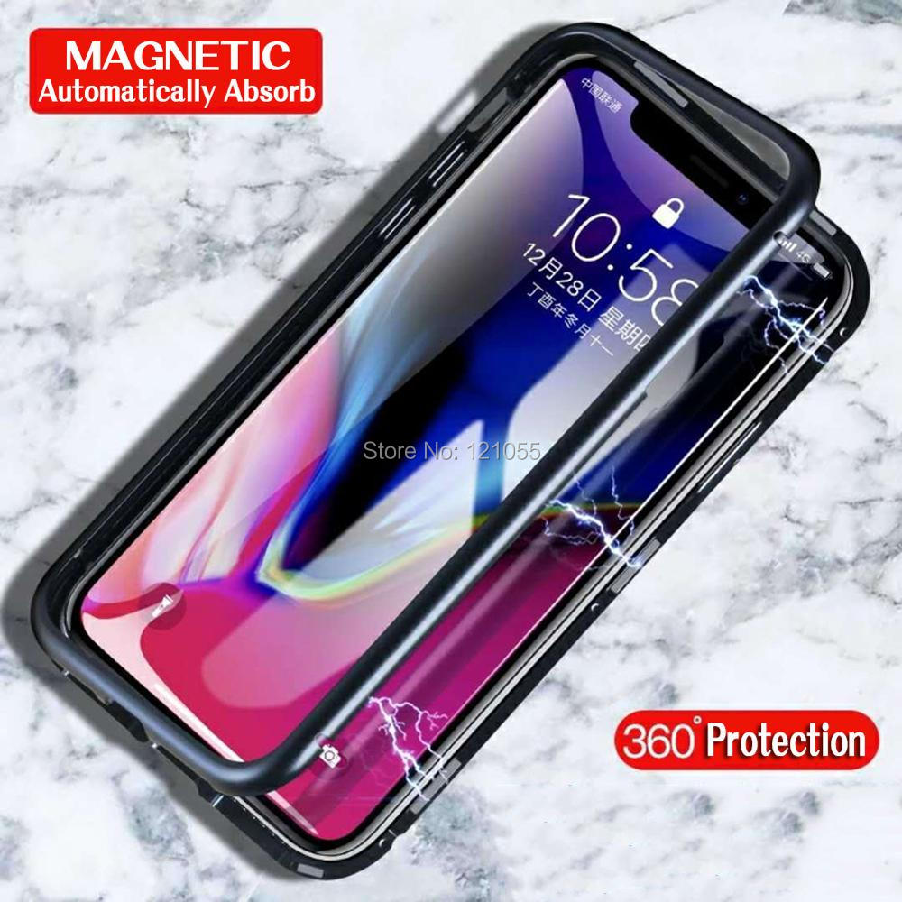 2018 New magnet cover for iphone case magnetic metal bumper ultra thin shell tempered glass full body adsorbtion wholesale lot-in Fitted Cases from Cellphones & Telecommunications    2