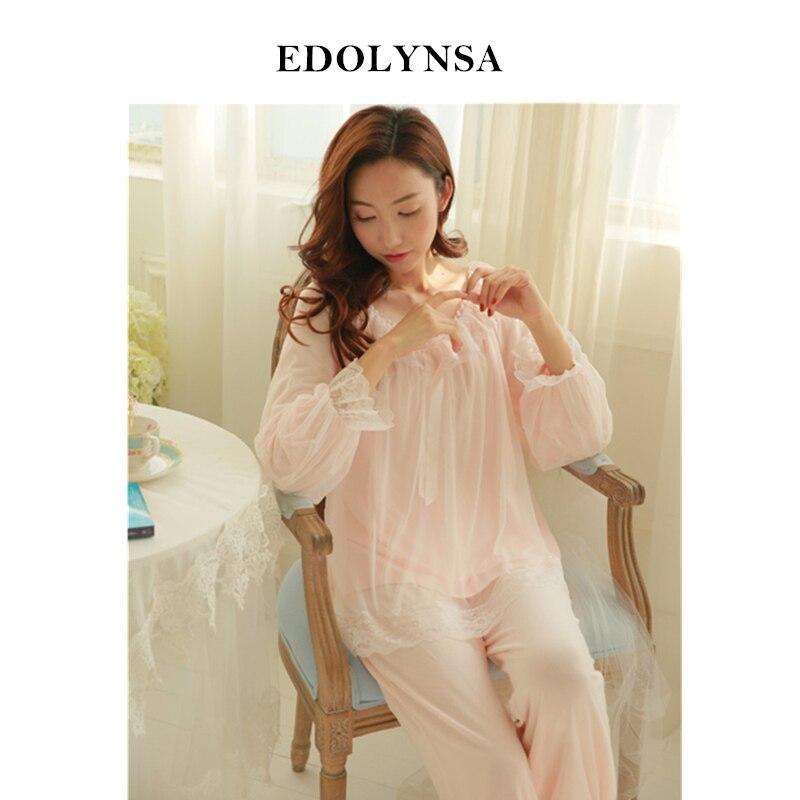 Nett Pyjama Sets 2019 Baumwolle Langarm Nachtwäsche Sexy Frauen Charakter Hause Tragen Vintage Indoor Kleidung Pyjamas Für Frauen # H323
