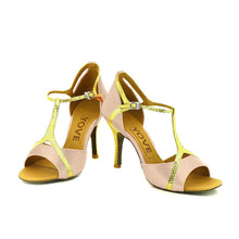YOVE Dance Shoe Satin and Leather Women's Latin/ Salsa Dance Shoe 3.5″ Slim High Heel More Color w143-1