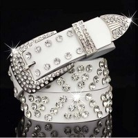 Fashion Ms Belt Crystal Cummerbund Woman S Belts Pin Buckle Belts White Black Lenght 110 CM
