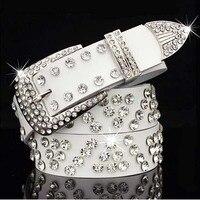 MS Cristallo Cintura Cummerbund di modo della Donna Cinture cinture fibbia Ad Ardiglione Bianco Nero Lunghezza 110 CM del Burlone Della Ragazza Cintura