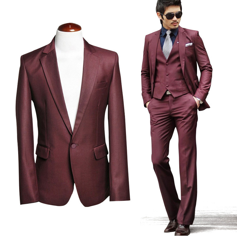 2013 male suit groom wedding dress male wine red small