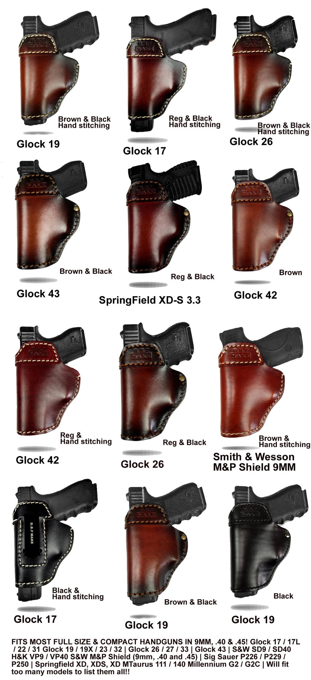 US $39 99 |B B F Make Gun Holster Leather Handmade Pistol case for M&P  Shield Glock 17 19 22 23 25 26 27 32 33 42 43 / Springfield XD S IWB-in