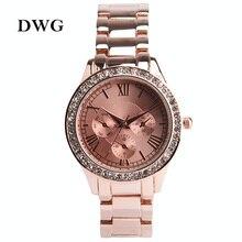 DWG Casual Horloge Or Bracelet Montre Femmes Strass Montres Femmes Élégant Bracelet À Quartz Montre Dames Robe Montre Relojes Mujer