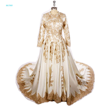 BRITNRY Muslim Wedding Dress Long Sleeve Ball Gown