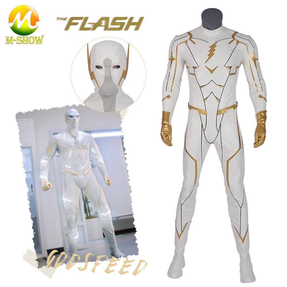 2019 The Flash Season 5  Cosplay Costume Godspeed Cosplay Suit Halloween Superhero Godspeed Jumpsuit Men Zentai Suit Custom Made