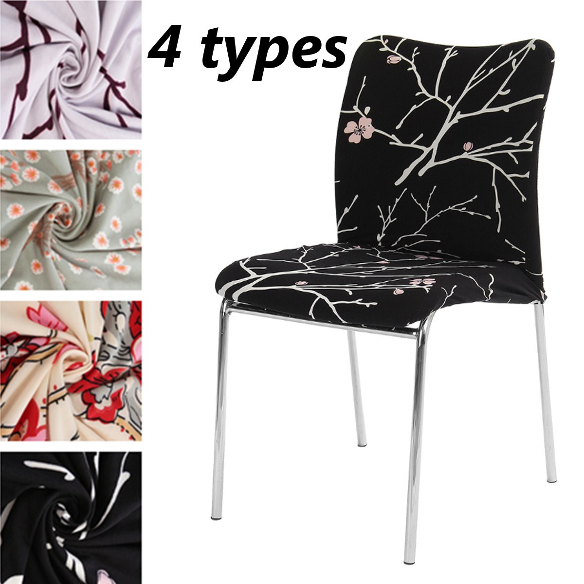 Chair Cover Removable Floral Stretch Short Dining Room Stool Printed Flat Pad Modern Anti Dirty
