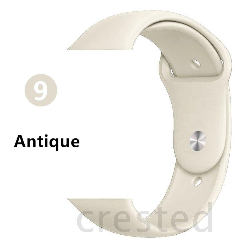 Силиконовый ремешок для apple watch 4 5 44 мм/40 мм спортивный ремешки для apple watch 3 42 мм/38 мм резиновый ремень браслет ремешок для часов apple watch Band Мягкий красочный ремешок iwatch series 4 3 2 1 - Цвет ремешка: Antique