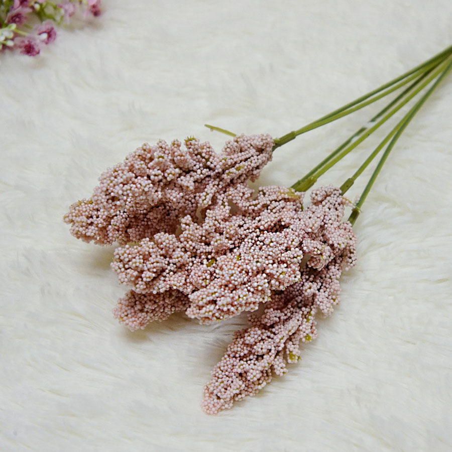 6Pcs/Pack Mini Vanilla Foam Berry Spike Artificial Flowers for Wall Decoration 5