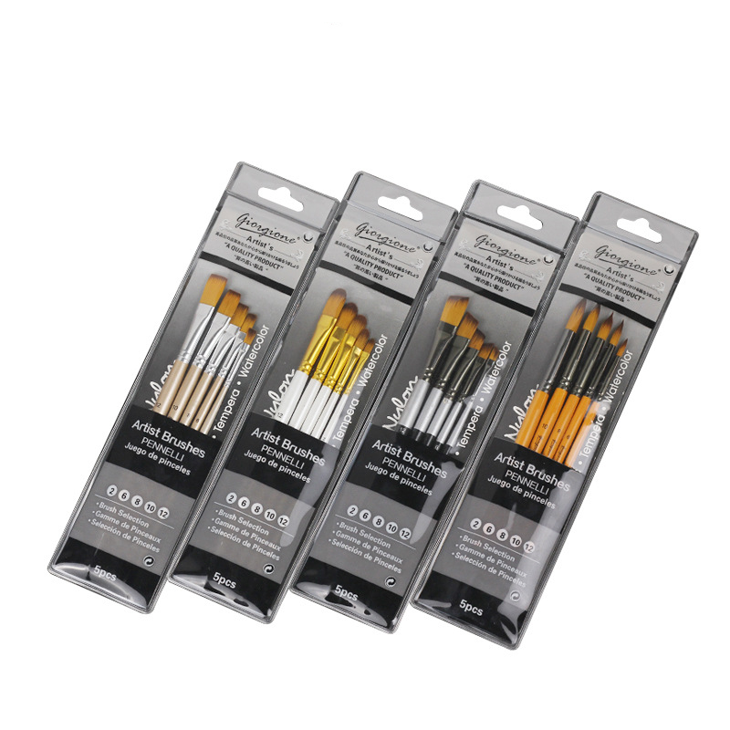 Watercolor Gouache Painting Brush High Quality Nylon Hair 5 Sticks Art Painting Pen Set Student Art Supplies Painting Material