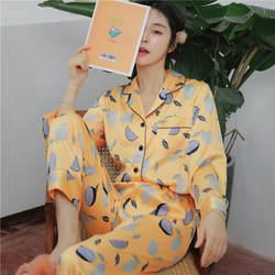 Новая женская домашняя одежда с длинными рукавами, весенние атласные пижамы, пижамный комплект, одежда для сна с принтом, рубашка с