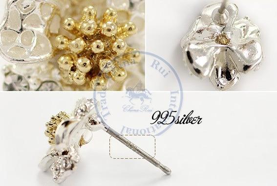 Stud Earrings ear rings Fashion for women Girls lady daisy slivery flower elegant desgin CN post