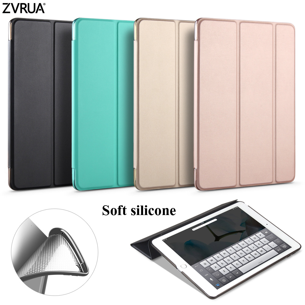 Case for New iPad 9.7 inch 2017 2018 Release, ZVRUA Soft silicone bottom+PU Leather Smart Cover Auto Sleep For
