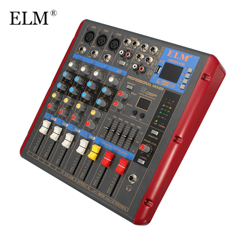 ELM Karaoke Audio Mixing Mixer Professional Bluetooth 4 Channel Microphone Digital Sound Amplifier Console With USB 48V Power professional 4 channel live mixing studio audio sound console network anchor portable mixing device vocal effect processor
