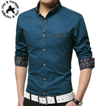 2016 New Autumn Fashion Brand Men Clothes Slim Fit Men Long Sleeve Shirt Men Polka Dot Casual Men Shirt Social Plus Size 5XL