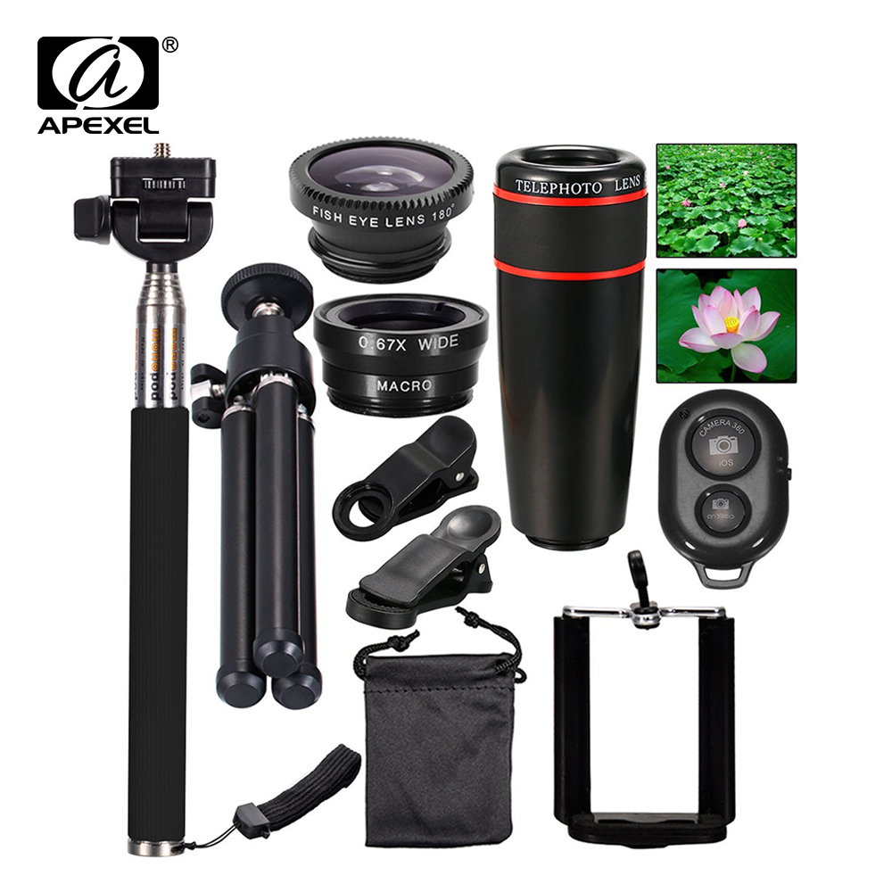 bilder für 10in1 Handy-kamera-objektiv Kit 12x Teleobjektiv + Fischauge + weitwinkel + makroobjektiv + selfie stick einbeinstativ + mini stativ 12x10in1