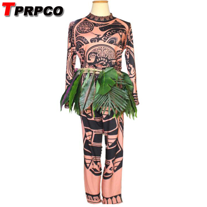 TPRPCO  Full Set Movie Moana Princess Maui Cosplay Costume Princess vaiana Maui Costume for Children