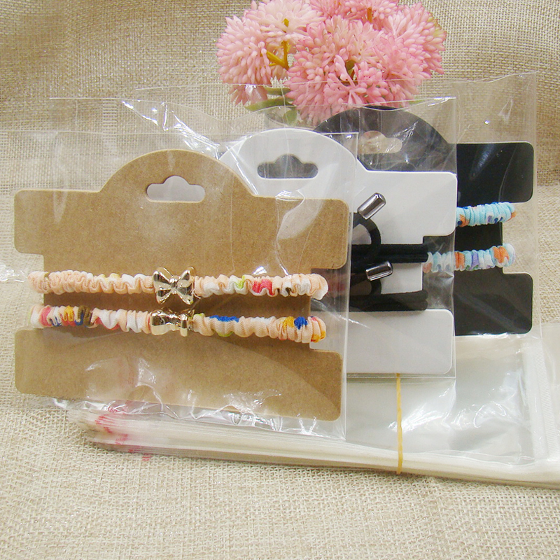ZerongE Jewelry  Kraft/black/white Paper Hair Accessories Band Clips Display Hanging Package Card 100pcs+100pcs Opp Bag