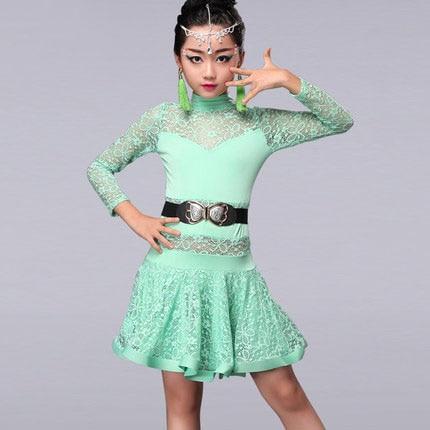 عالية الجودة الحرير الجليد أنيقة ضئيلة الأطفال الرقص اللاتينية اللباس رائع مطرزة أحمر أزرق أخضر كلاسيكي فتاة الرقص ارتداء