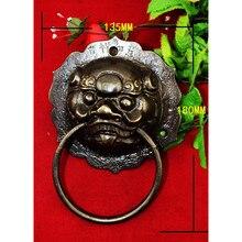 Brass Chinese Vintage Animal Beast Head Furniture Door Pull Handle,135*180mm,1PC