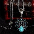 Encantadora del pavo real collar colgante de plata antigua turquesa collar largo collar collar de la mujer de la joyería