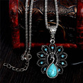 Lovely Peacock Pendant Necklace Antique Silver Turquoise Necklace Long Necklace Women's Jewelry