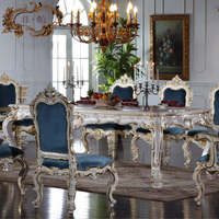 Italian French Antique Furniture All Silver Foil Royalty Classic Dining Table Free Shipping