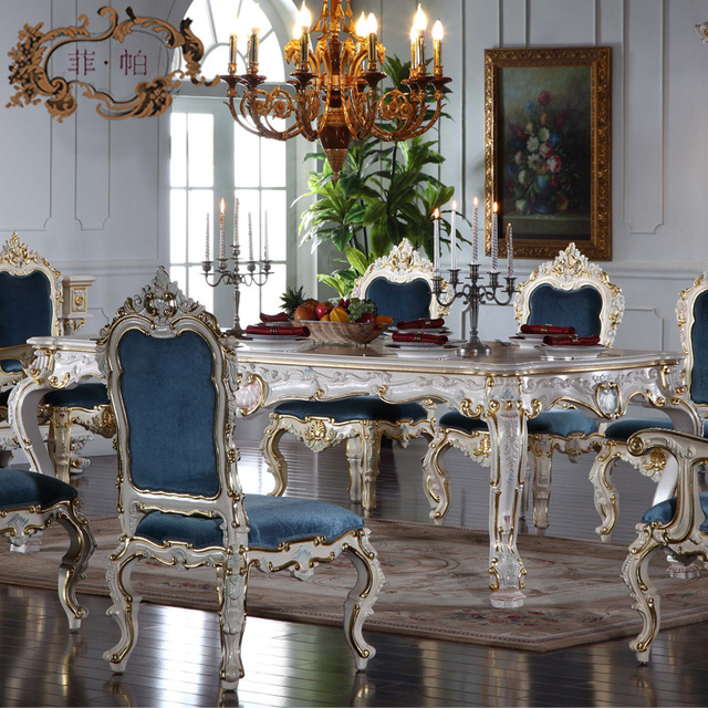 Italian French Antique Furniture   All Silver Foil Royalty Classic Dining  Table