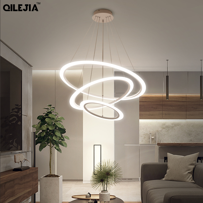 Acrylic Metal modern LED pendant lights Kitchen Cord hanging roof lamp for dinning living room lamparas