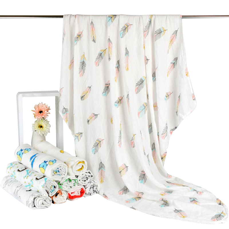 Hot Feather Baby Blanket Bedding Swaddle Wrap Bamboo Cotton Gauze Muslin Blanket Soft Breathable For Newborn Baby Blankets