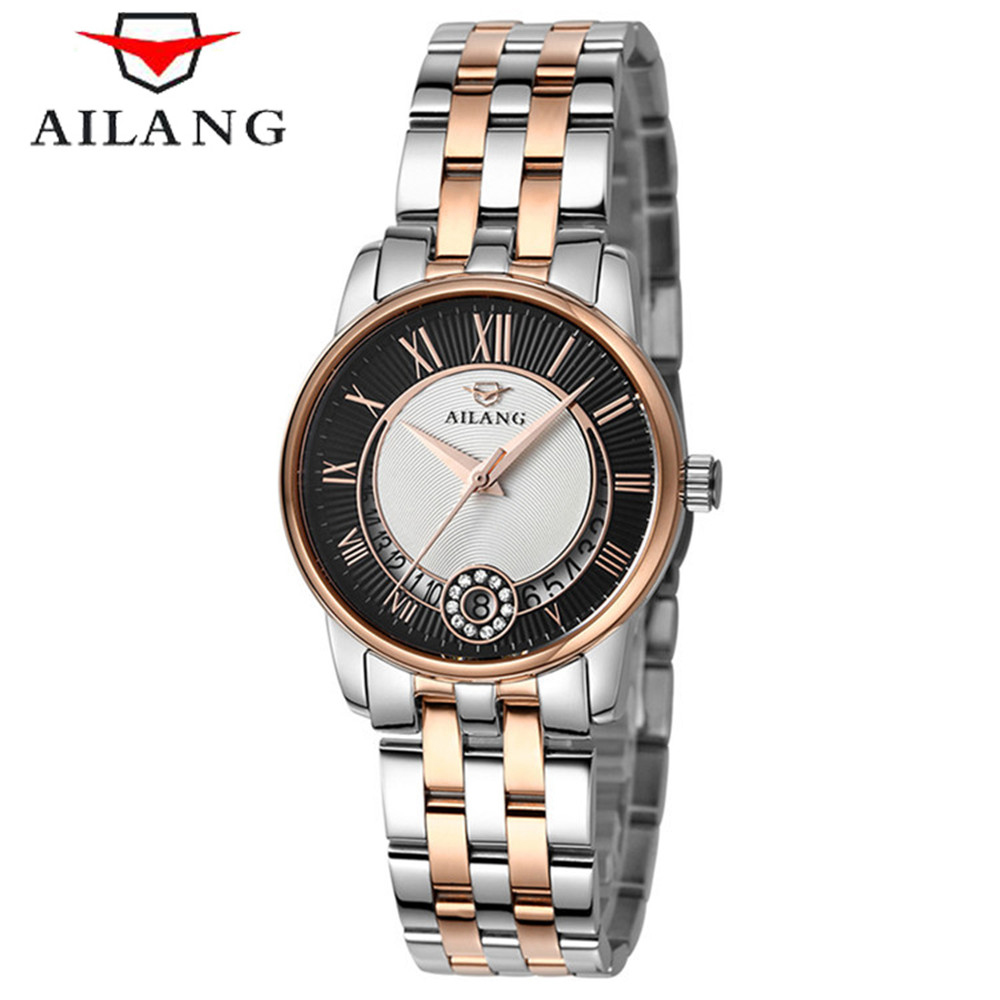 AILANG Women Golden & Silver Classic Quartz Watch Female Elegant Clock Luxury Gift Diamond Watches Ladies Waterproof Wristwatch wecin f5049 female quartz watch with diamond decoration golden watch case
