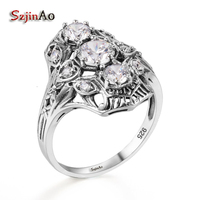 Hot Product Promotion 925 Sterling Silver Princess Diamond Ring Couple Ring Women White Zircon Rings