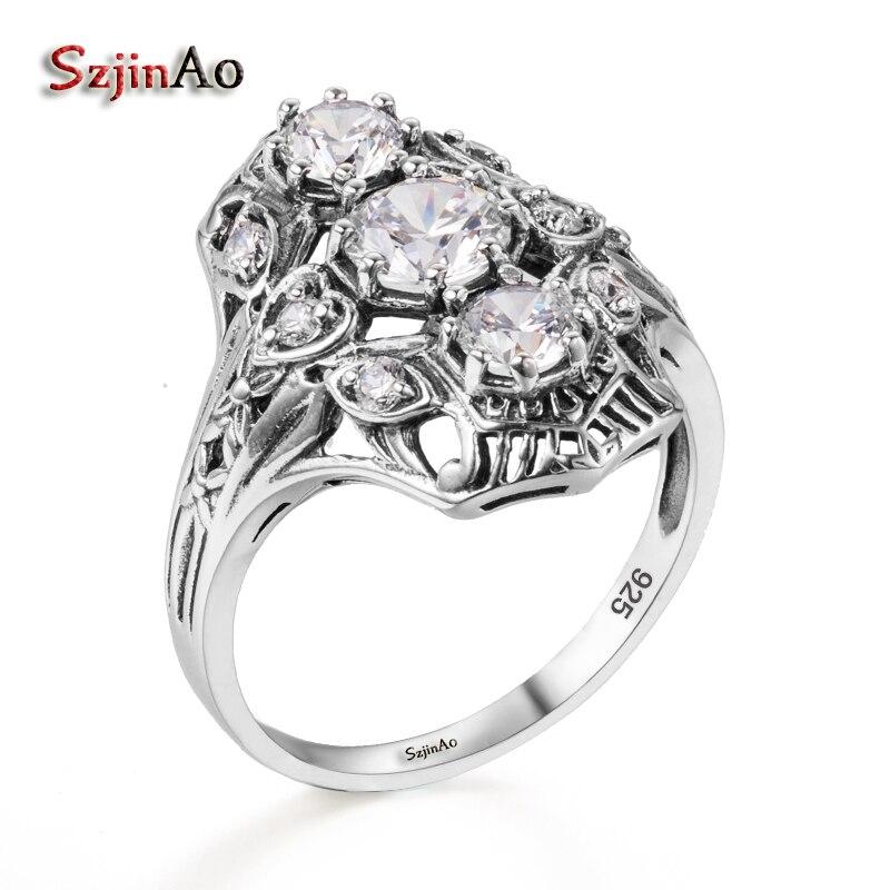 Szjinao – bague en argent Sterling 925 pour femmes, réplique de bijoux antiques, zircone cubique, accessoires de mariage