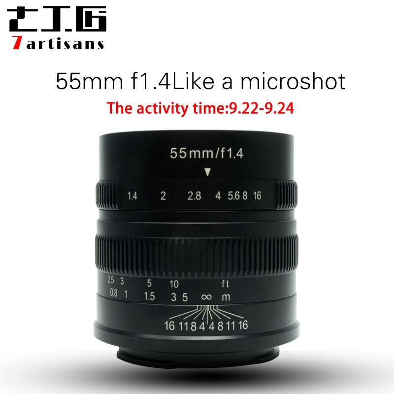 7 artisans 55mm F1.4 Grand Portrait D'ouverture Mise Au Point Manuelle Micro Camera Lens Fit pour Canon eos-m Montage E Fuji Montage Livraison Gratuite