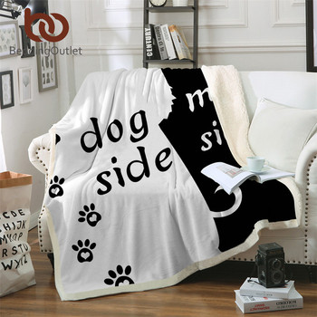 BeddingOutlet Cartoon Microfiber Bed Blanket Black Throw Blanket for Kids Dog Side and My Side Home Textiles Pet Footprint manta