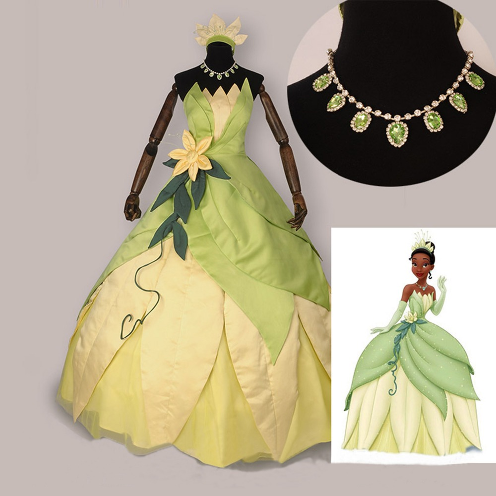 The Princess And The Frog Cosplay Costume Adult Princess Tiana Dress Women Halloween Costume Long Green Party Dresses