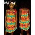 Глобальный Lover 2016 Новое Прибытие Традиционных и Mordern Dashiki Африканских Печатных Одежды Одежда Плюс Размер Лето Bohemain Платье Девушки