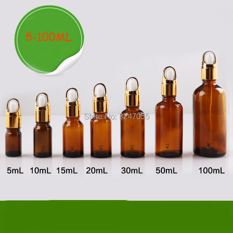 Empty Essential Oil Bottle with Basket Cap, Amber Vial Cosmetic Package,Brown Glass Pipette Vial Droppers,5/10/15/20/30/50/100ml three 100ml