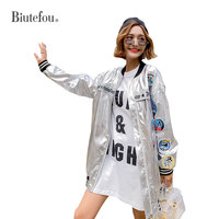 2019 Spring embroidery patch designs jackets women fashion metal silver chic jackets
